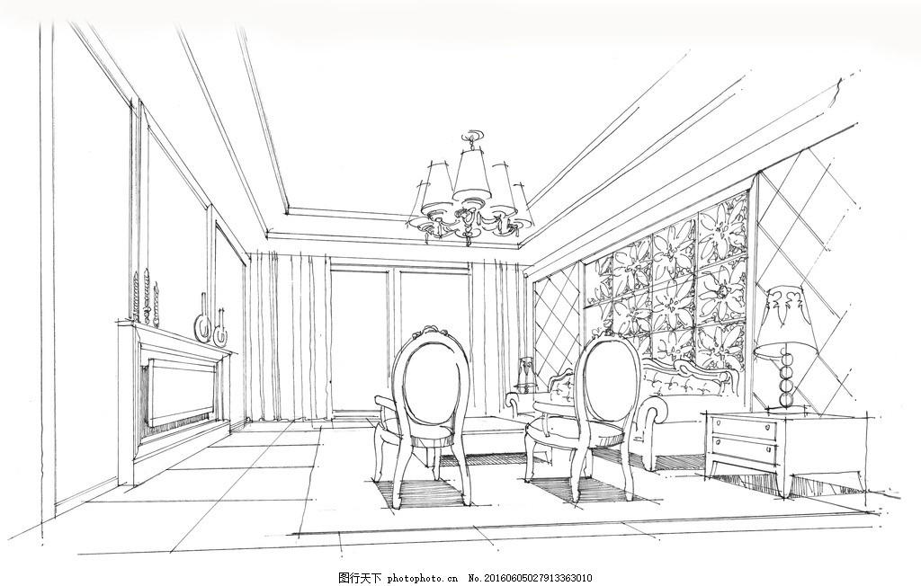 手绘客厅 手绘 线稿 现代 欧式      室内设计 设计 环境设计 室内