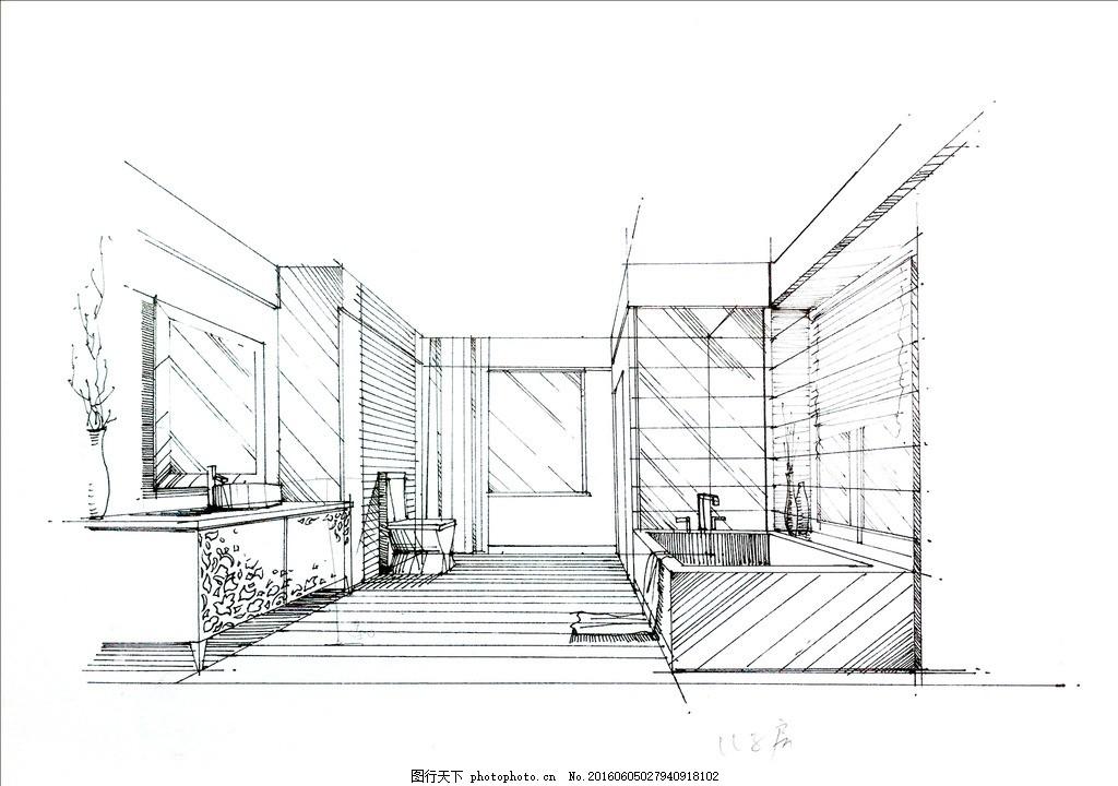 别墅卫生间手稿 手绘 线稿 别墅 现代风格        室内设计 设计 环境