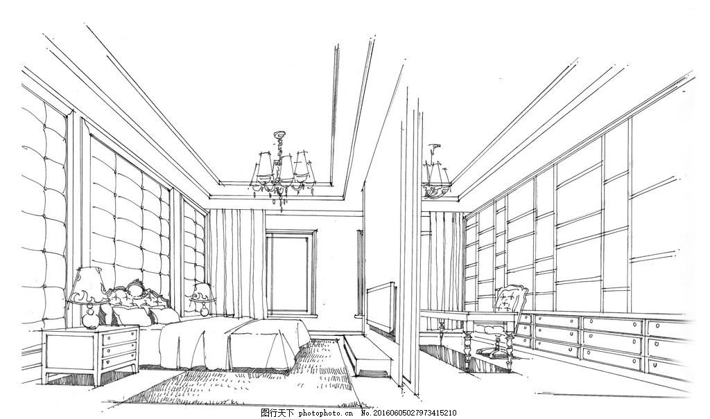 手绘卧室书房 手绘 线稿 现代欧式      书房 室内设计 设计 环境设计