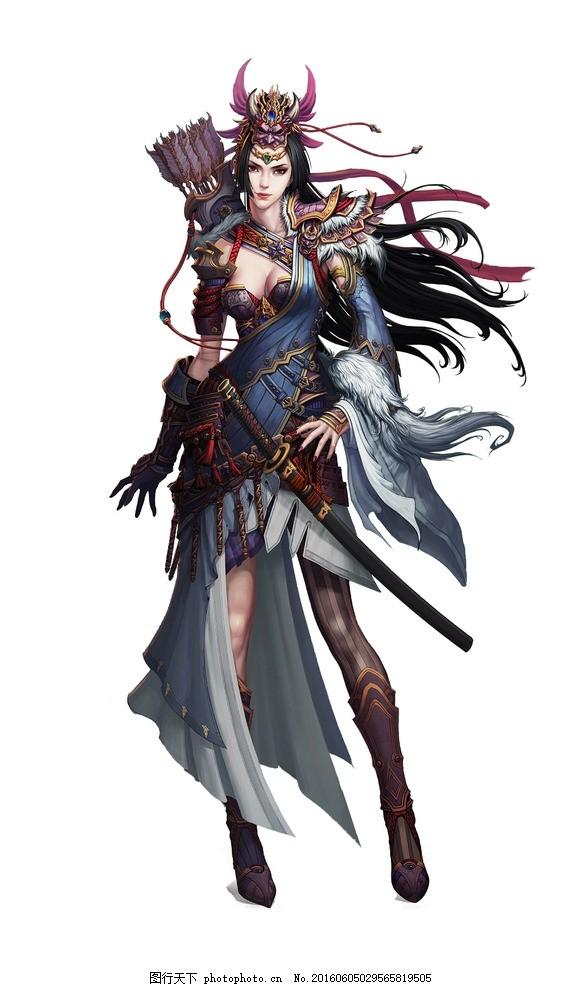 游戏美女 游戏人物 网游手游角色 古装美女 侠女 佩剑 箭 游戏人物