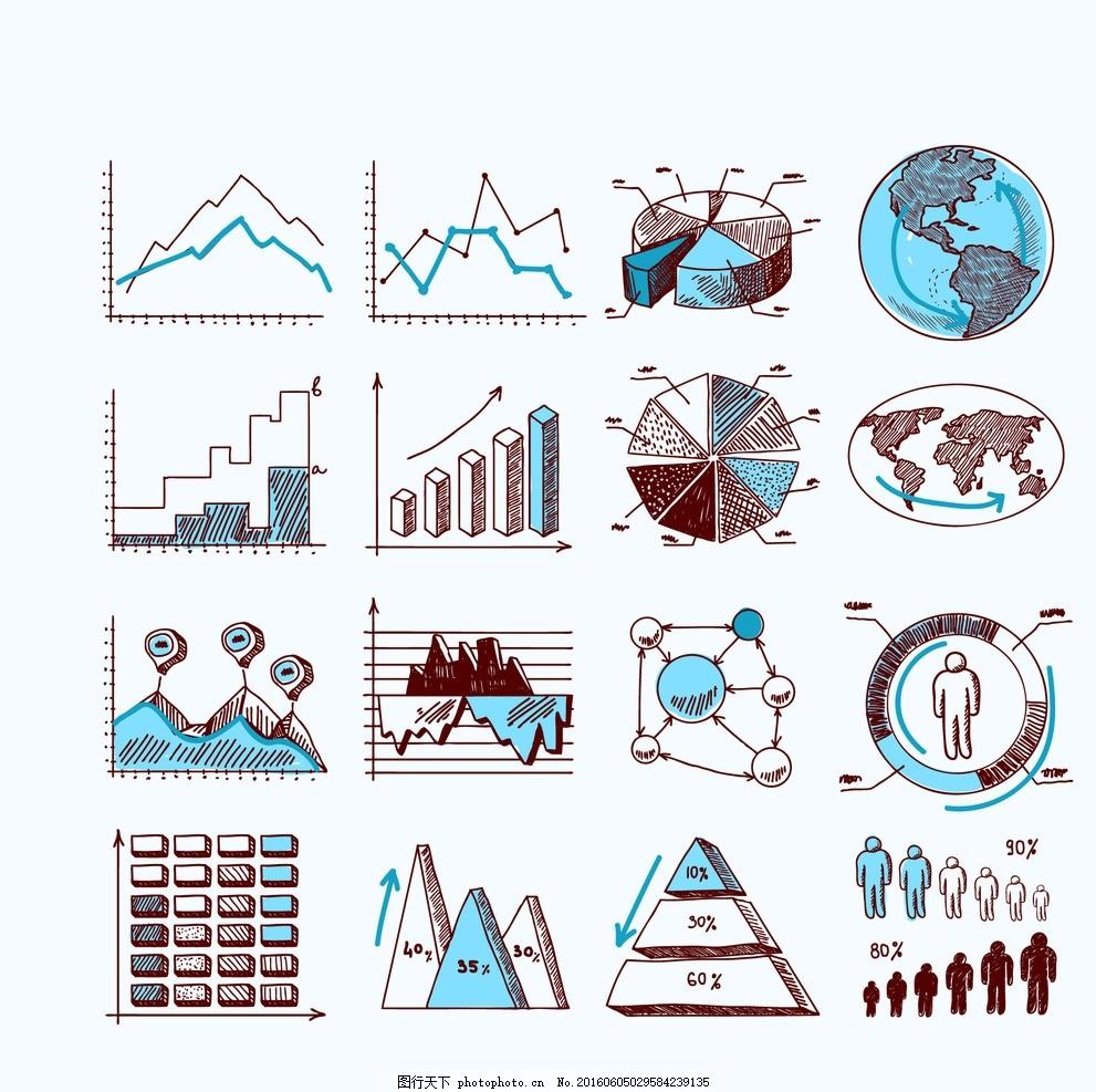 信息图表 数据统计图表 基础图表 图形图标 扁平化图表 数据图表图片