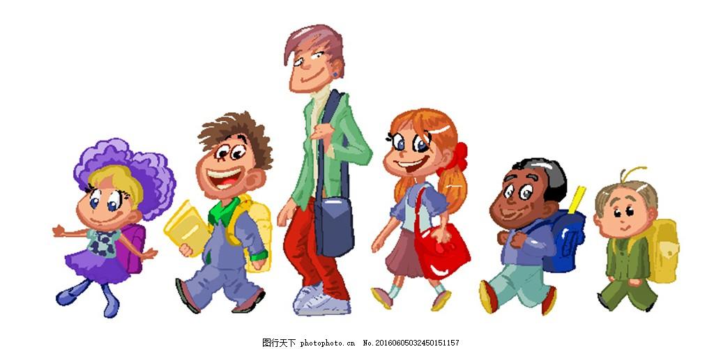 背书包的学生漫画,卡通男孩 小男生 卡通女生 小女孩