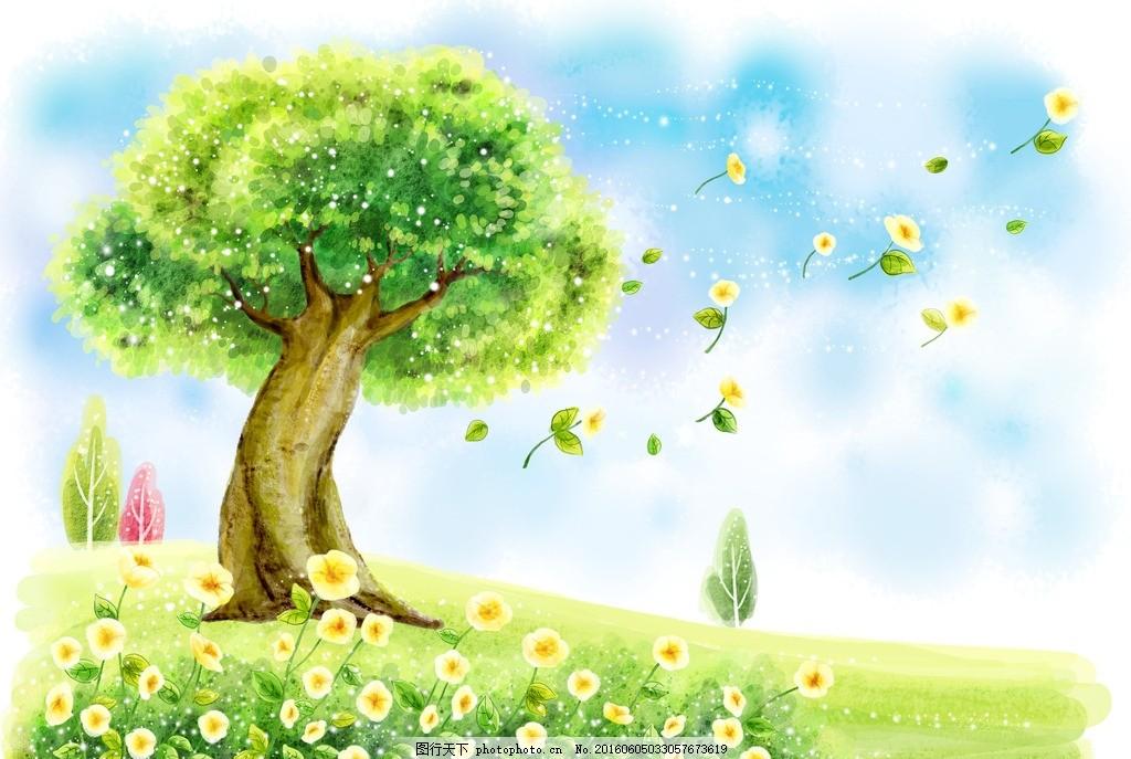 绿色手绘风景画 花纹 手绘 背景底纹 儿童 卡通 儿童手绘 卡通画 儿童