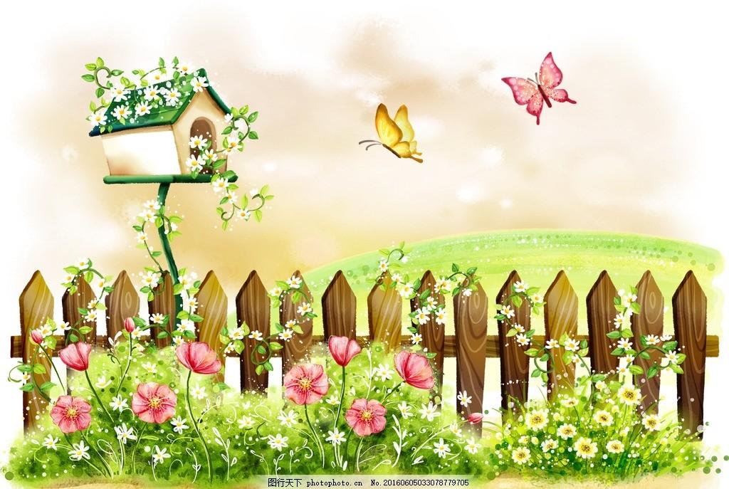 手绘蝴蝶花朵