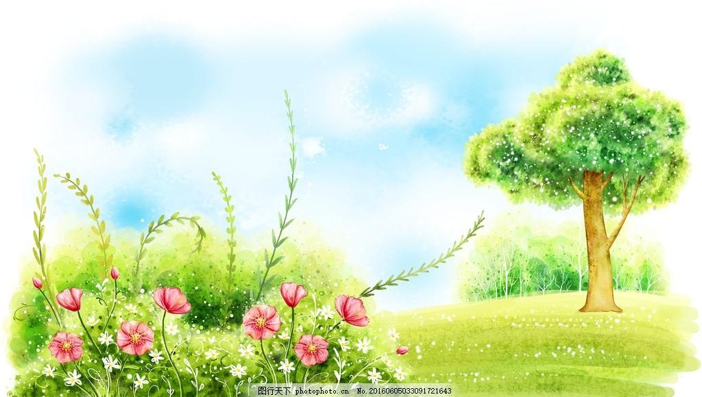 插画 儿童插画 卡通插画 水彩画 水粉画 水粉 大树 小鸟 房子 城堡 树