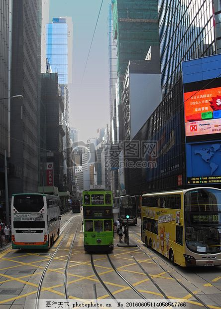 香港 摩天楼 城市 摩天大楼 电车 巴士 大城市 大都会 红色