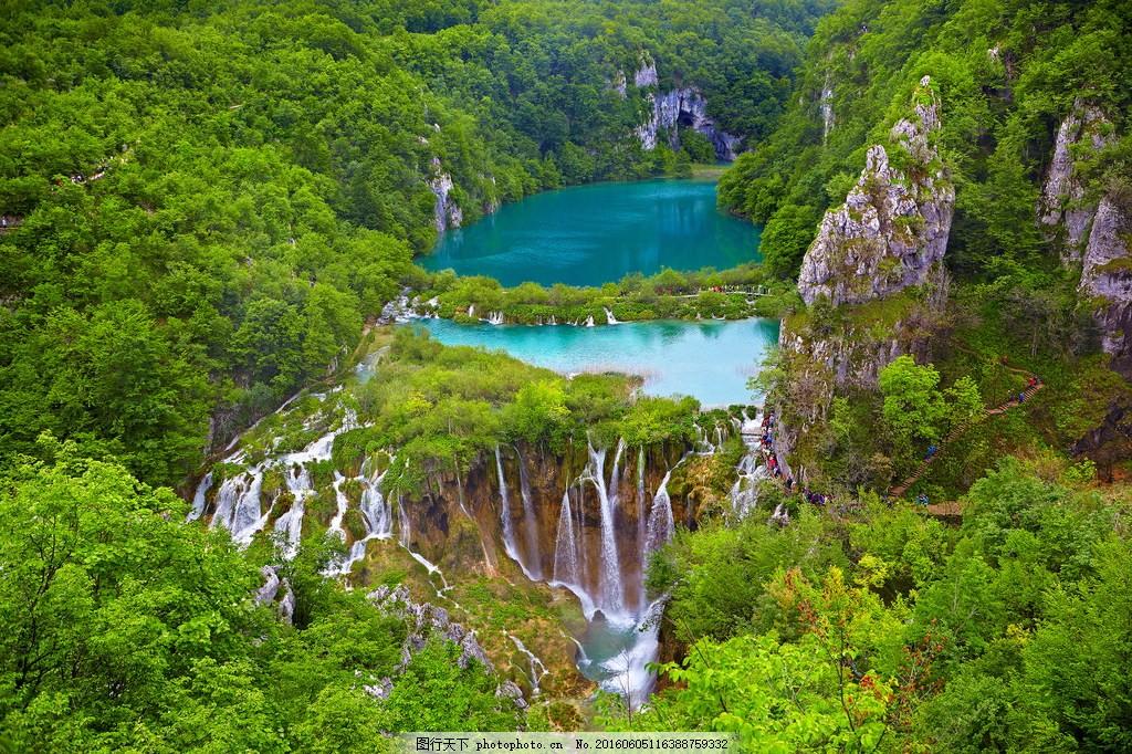 美丽的山水风景 美丽的山水风景高清图片下载 树林 树木 瀑布 流水