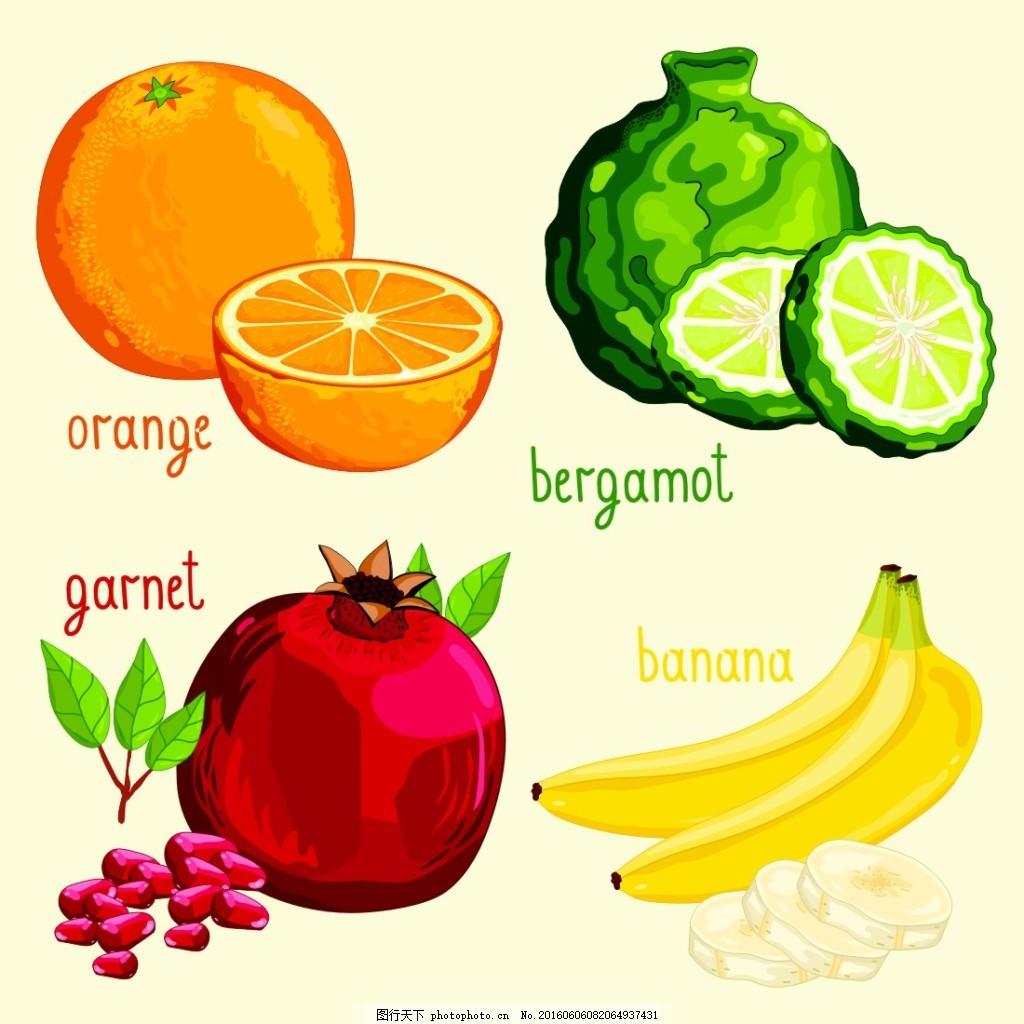 有机水果 果蔬 水果蔬菜 卡通水果 水果插画 香蕉 石榴 柠檬 蔬菜水果