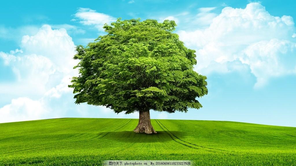 蓝天白云 模版下载 草地 大树 白云绿色 大自然 自然风景 静