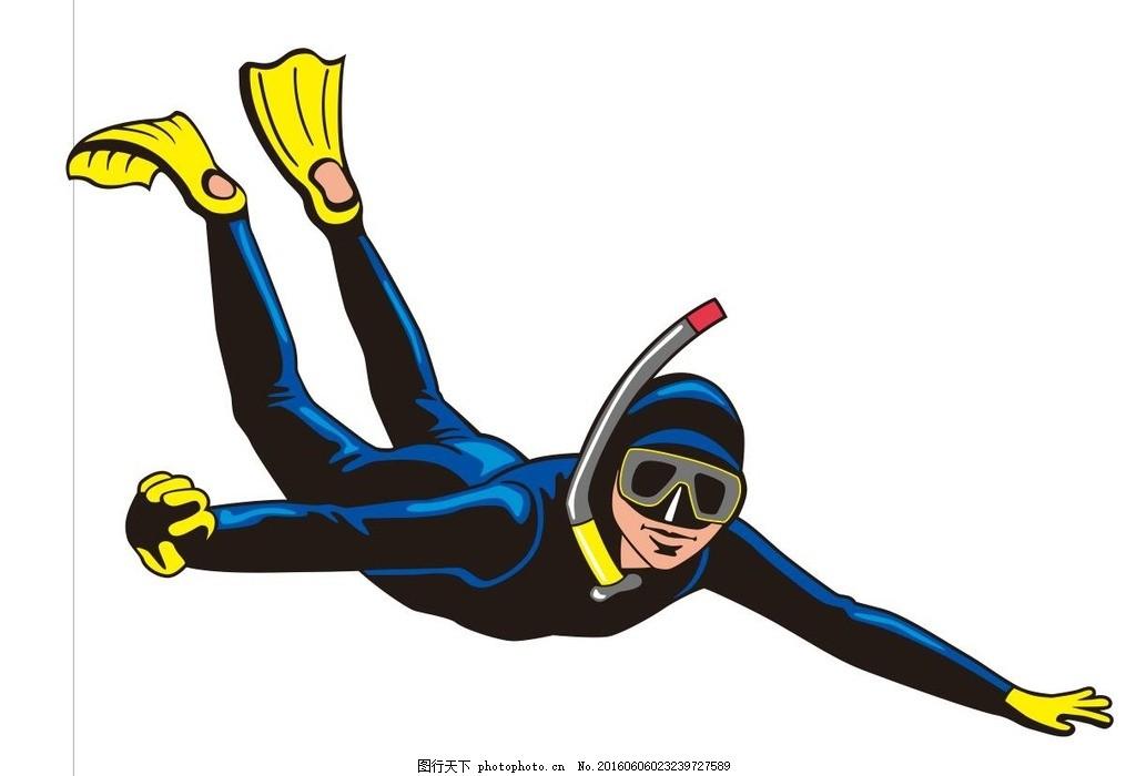 潜水员 插画 简笔画 线条 线描 简画 黑白画 卡通 手绘 简单手绘画
