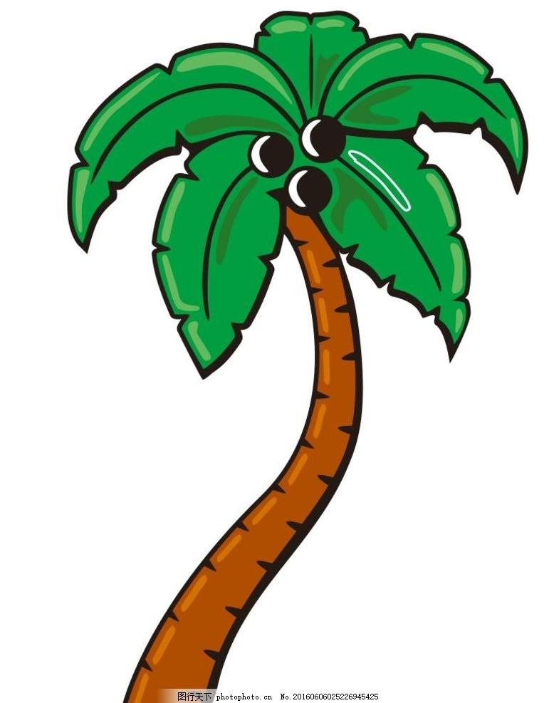 椰树 椰子树 插画 简笔画 线条 线描 简画 黑白画 卡通 手绘 简单手绘