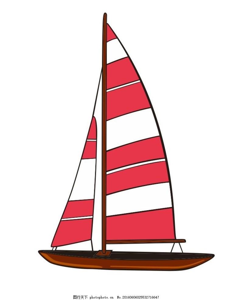 帆船简笔画 彩色 花边