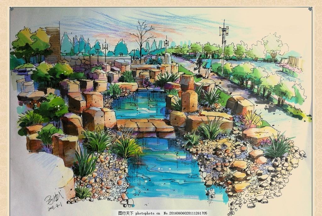 手绘水景观效果图