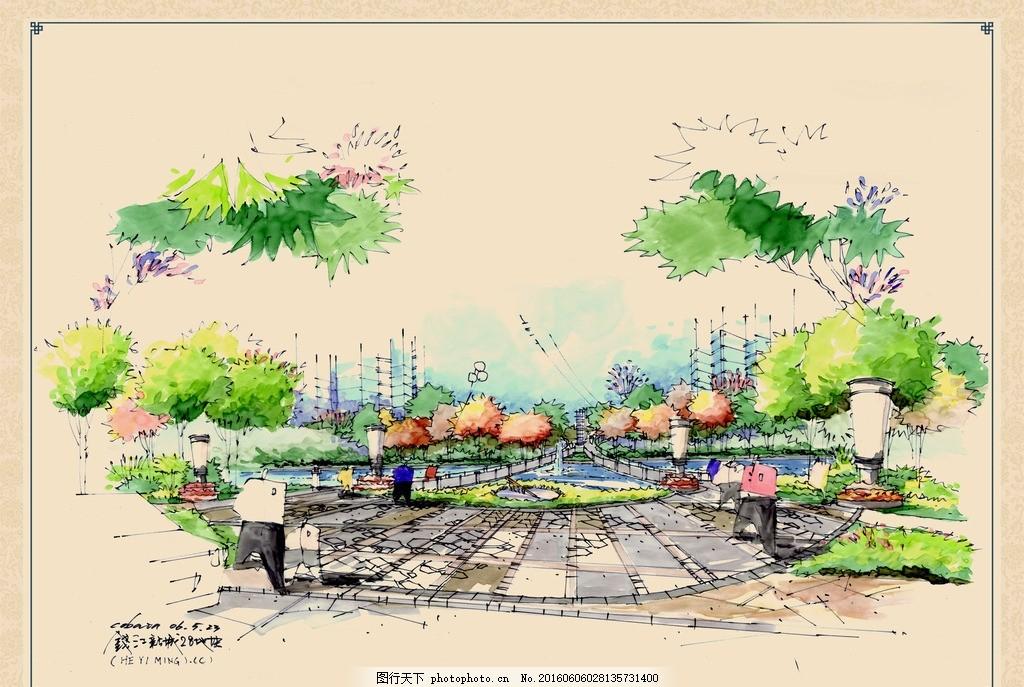 城市广场手绘效果图 景观 人文景观 水池 地砖 铺装 拼花 树木