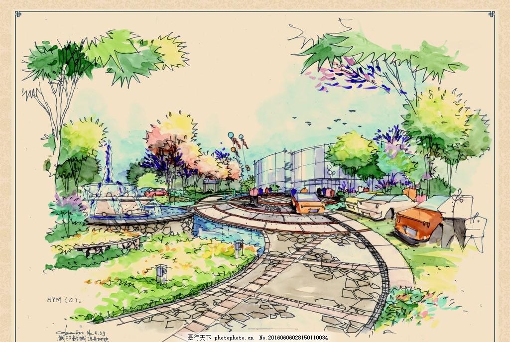 跌水 水景观 树木 树林 乔木 建筑 汽车 行人 气球 手绘建筑景观园林