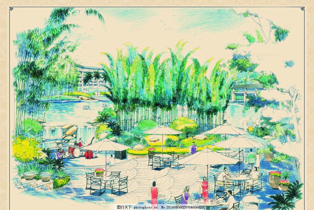 景观手绘效果图 城市 景观 公园 太阳伞 休息椅 座椅 广场 水池 喷泉