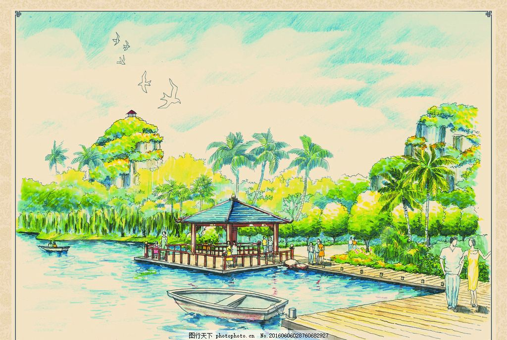 公园手绘效果 公园 湖岸 驳岸 凉亭 风雨亭 榭台 码头 木栈道 防腐木
