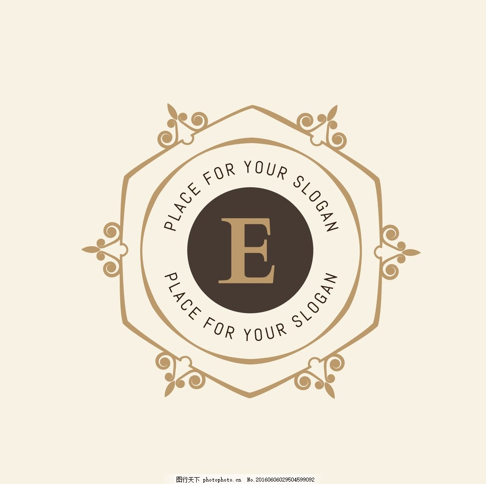 欧式花纹边框 简约圆环花纹 字母组合标志 复古花纹标志 花边 英文