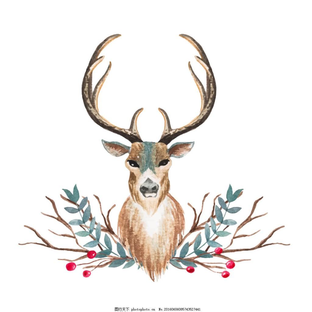 水彩画的鹿的设计
