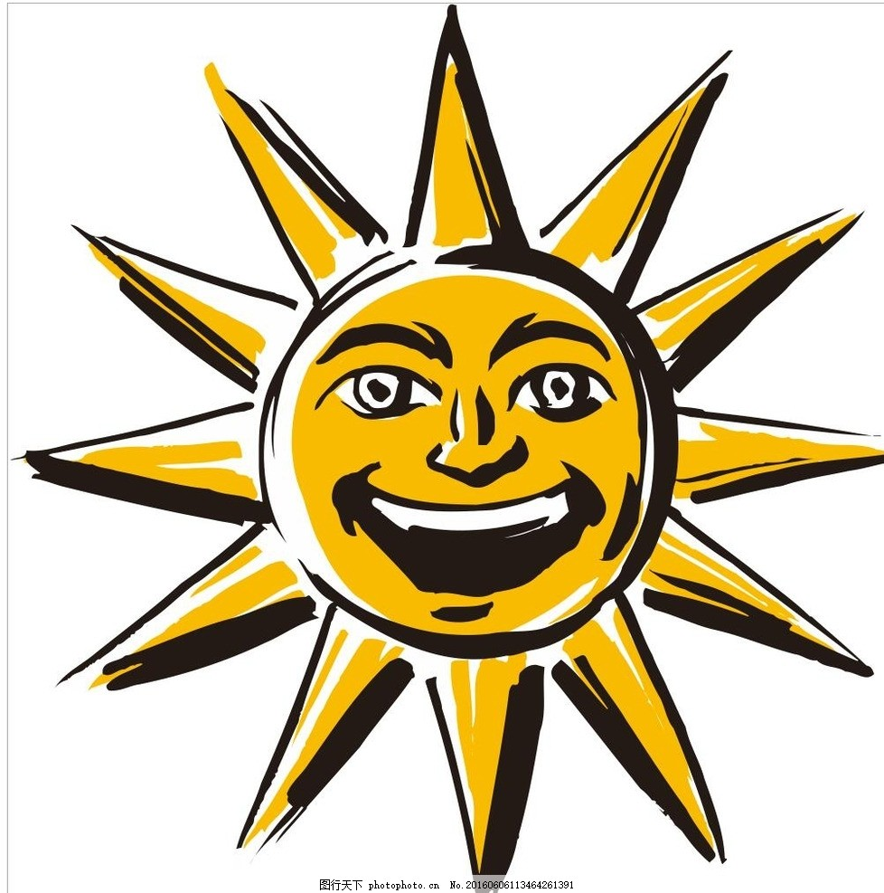 太阳 图标 插画 简笔画 线条 线描 简画 黑白画 卡通 手绘 简单手绘画
