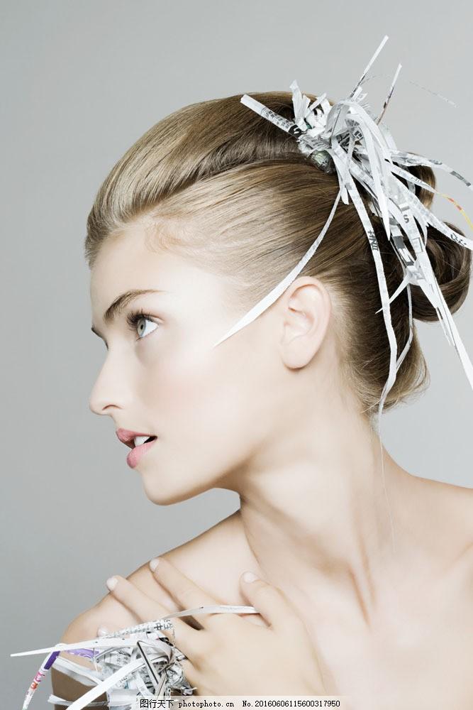 纸条头饰发型设计 纸条头饰发型设计图片素材 头型 造型 侧脸 报纸图片