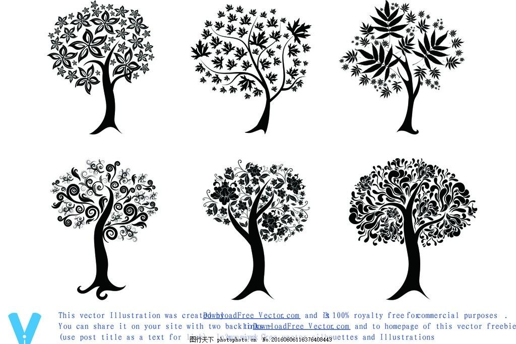 大树矢量图素材 卡通树树 剪影 矢量素材 广告设计 卡通设计