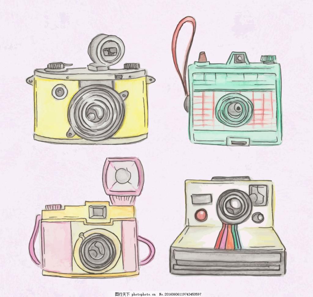 手绘可爱的宝丽来相机 手绘相机 卡通相机 复古相机 矢量相机