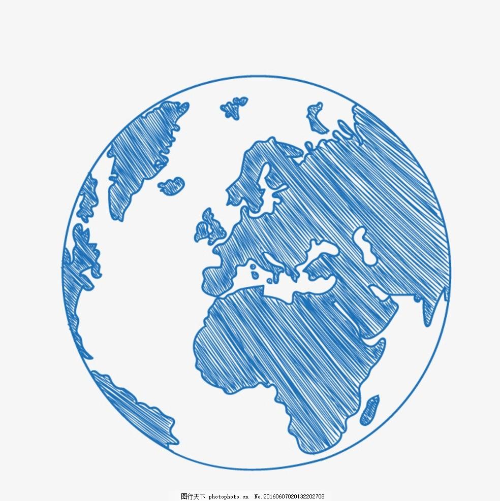 手绘地球 速写地球 矢量素材 ai 圆珠笔地球 矢量趣多多 设计 标志