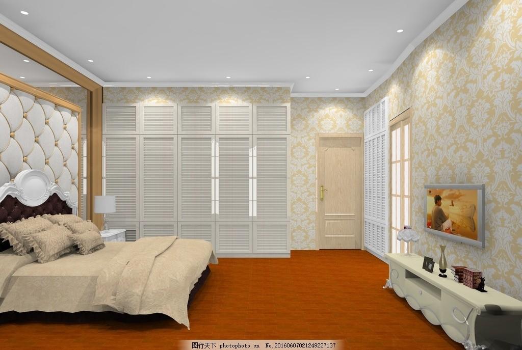主卧效果图 主卧        室内 床头背景 软包 现代装饰柜 欧式风格 木