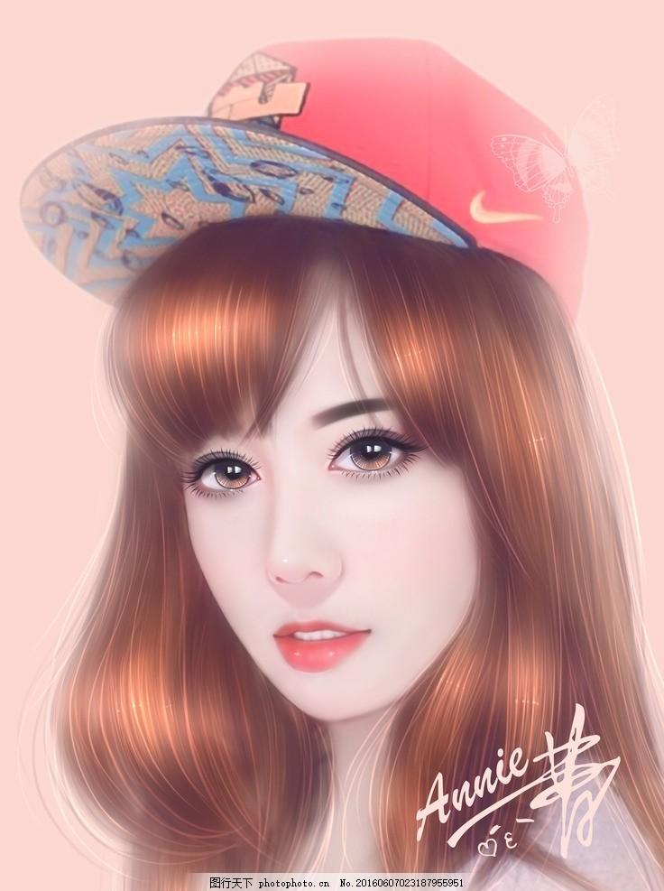 戴帽美女 美女头像手绘 古装 美女 sai 设计 真人 照片 手绘人物 人物