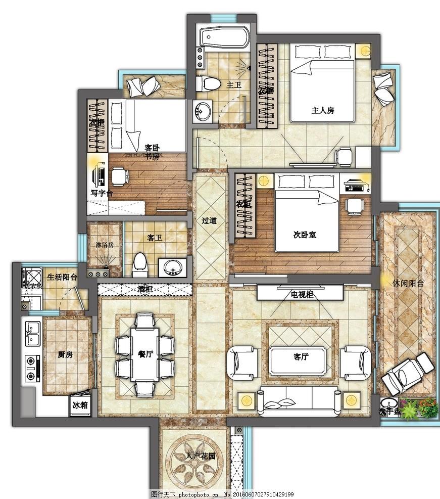 室内彩色平面图 现代 欧式 室内 家装 彩色 平面图 设计 环境设计