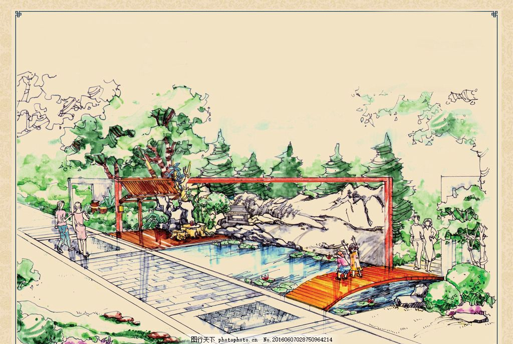 园林景观手绘效果图 庭院 公园 小桥 水池 流水 荷花 荷塘 木栈道