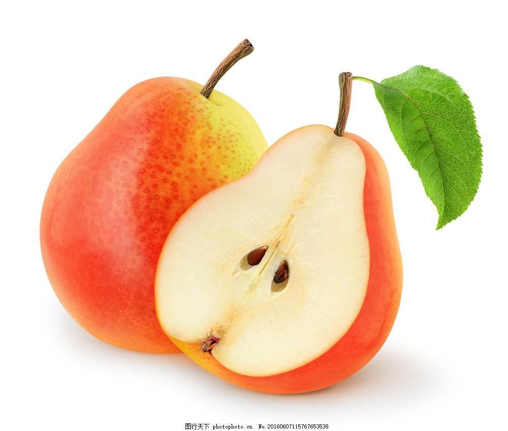 切开的梨 切开的梨图片素材 水果 切面 绿叶 蔬菜图片 餐饮美食