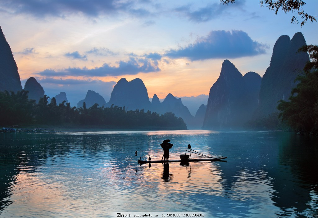 桂林山水风景 桂林山水图片 桂林山水 泛舟 漓江风景 蓝天白云 自然风