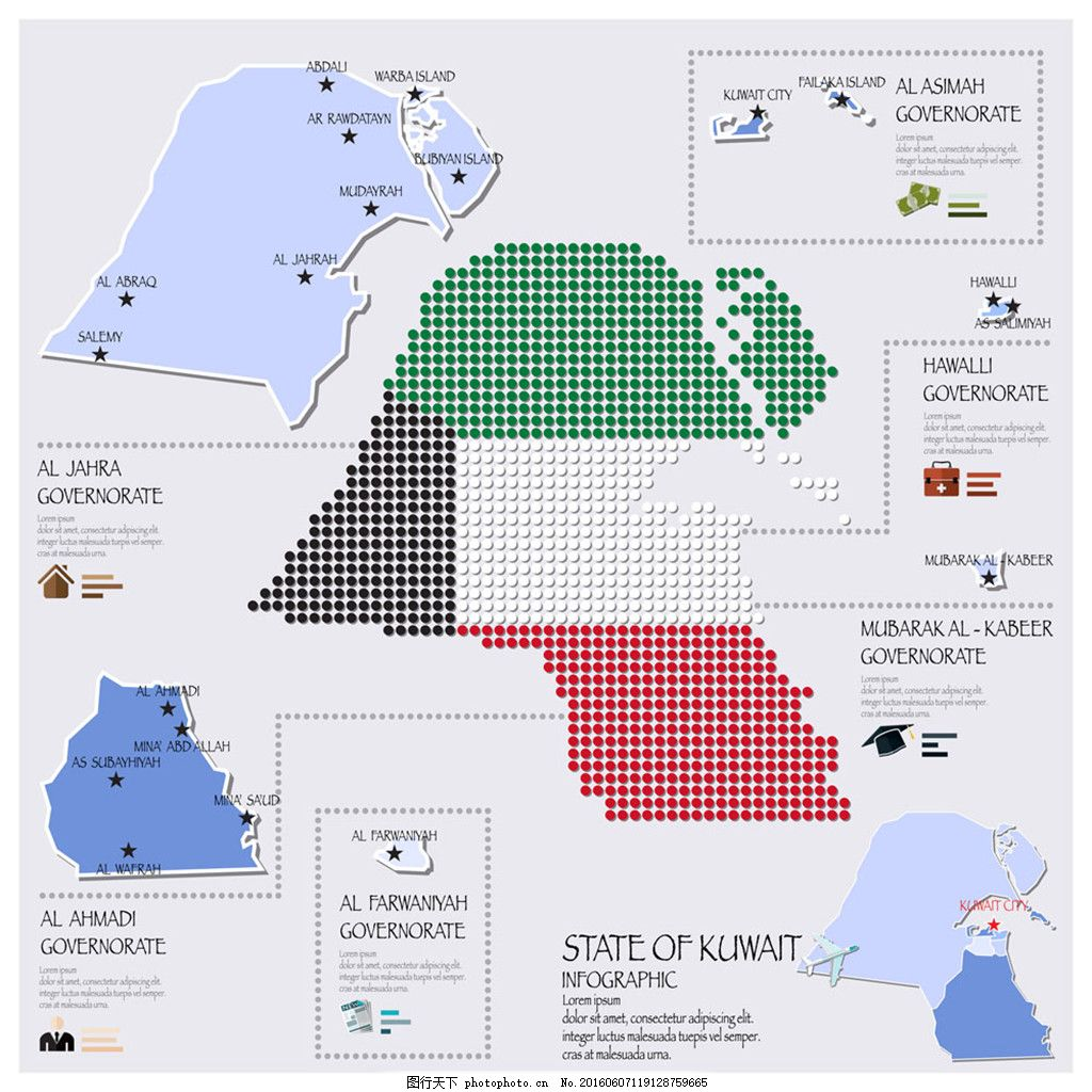 科威特国旗地图图表 科威特 国旗 地图图表 世界地图 国家地图 矢量