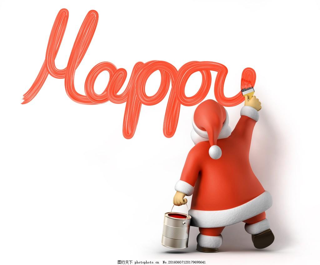 卡通圣诞老人 happy 油漆 红 卡通 可爱 q版 圣诞节 圣诞快乐 写字