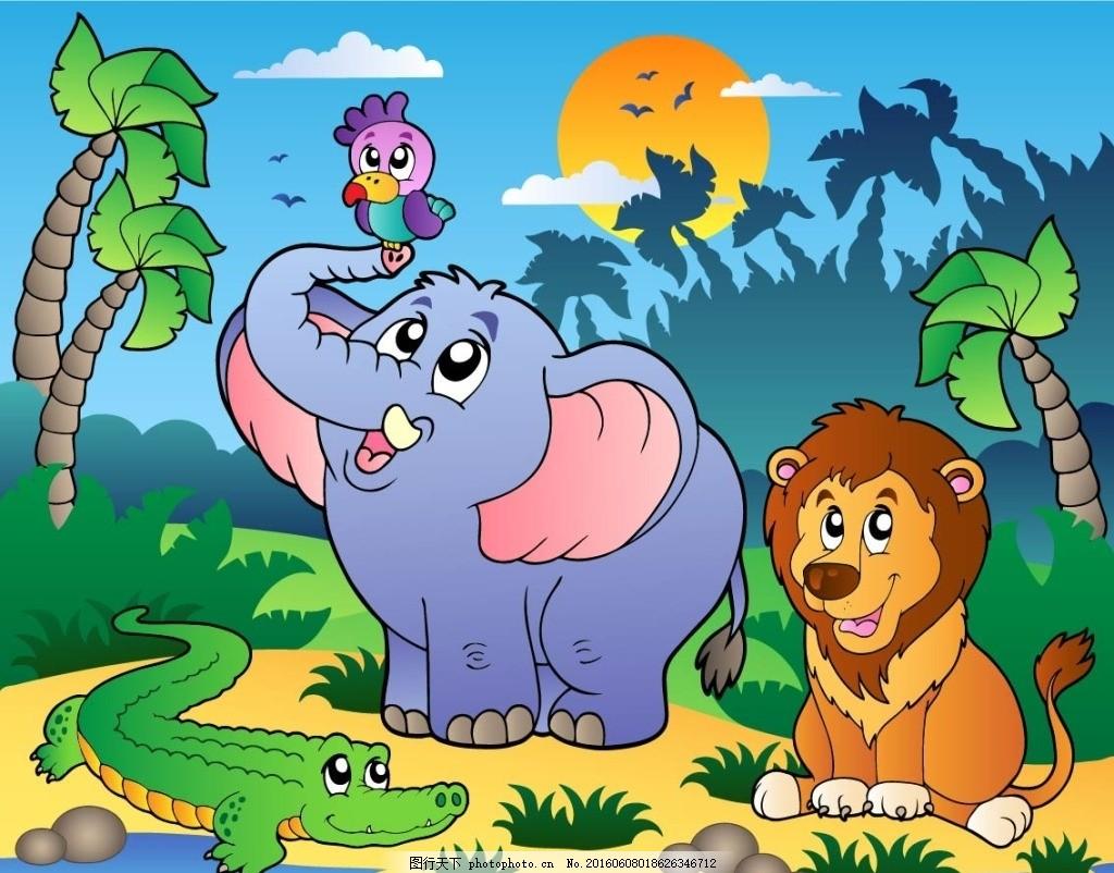 动物背景 动物 背景 动物世界 森林动物 墙绘 设计 动漫动画 其他 eps