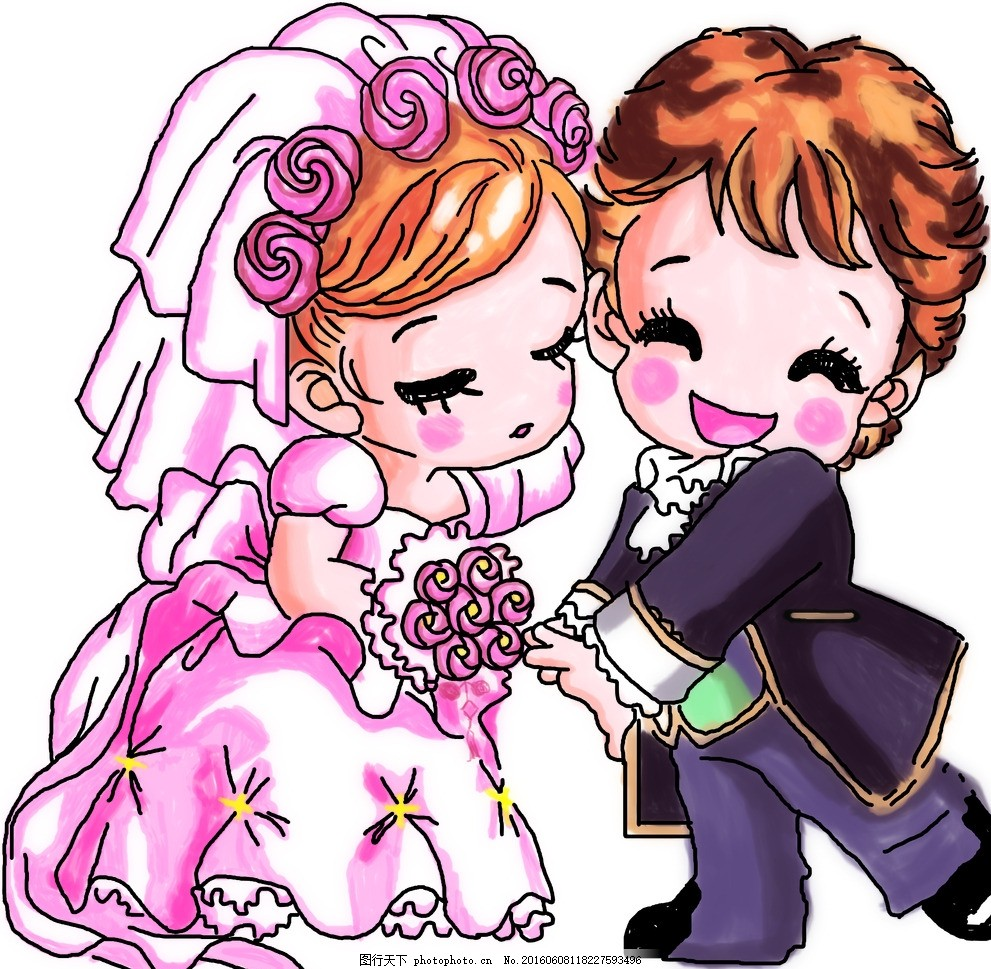 结婚 图片下载 卡通结婚新娘 卡通新郎 鲜花 手绘情侣 人物 源文件