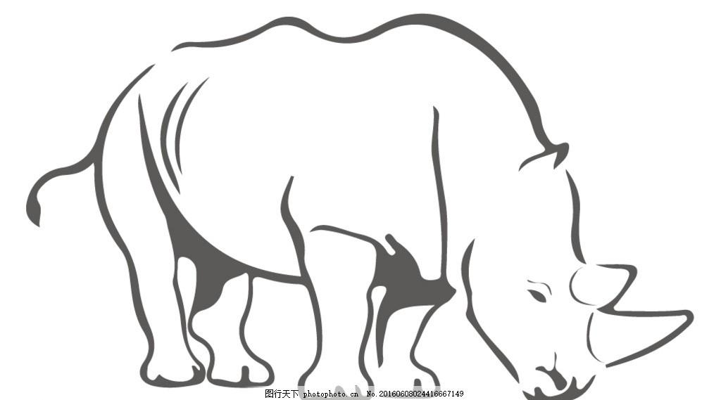 犀牛矢量图 动物 线稿图 简洁 单色
