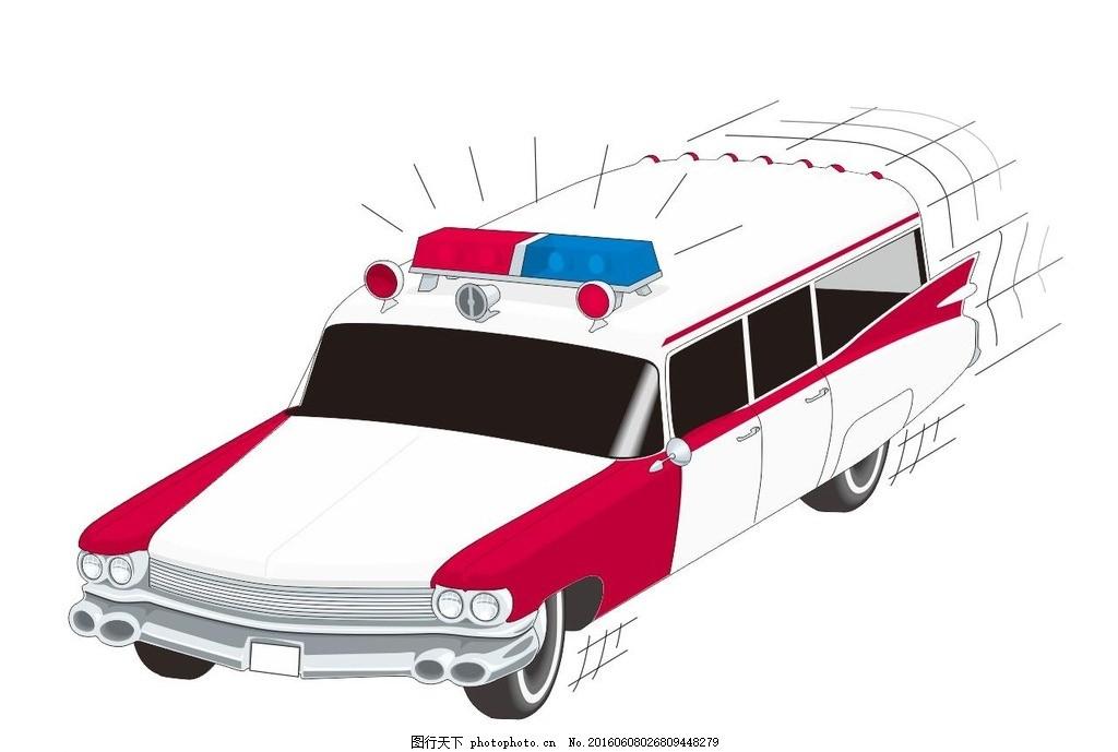 救护车 救援车 插画 简笔画 线条 线描 简画 黑白画 卡通 手绘 简单