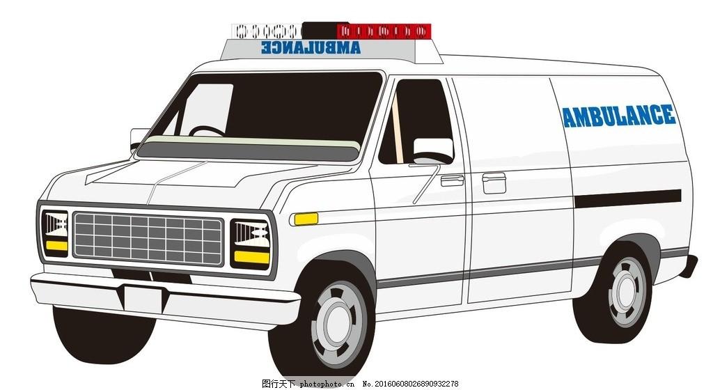 救护车 救援车 医疗 插画 简笔画 线条 线描 简画 黑白画 卡通 手绘