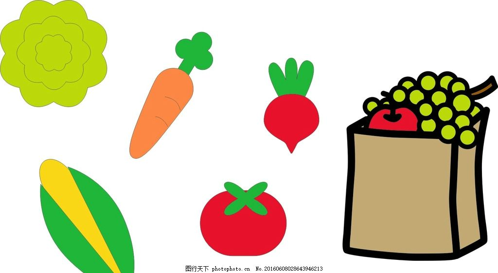 玉米 胡萝卜 西红柿 卡通素材 可爱 素材 手绘素材 幼儿园素材 抽象