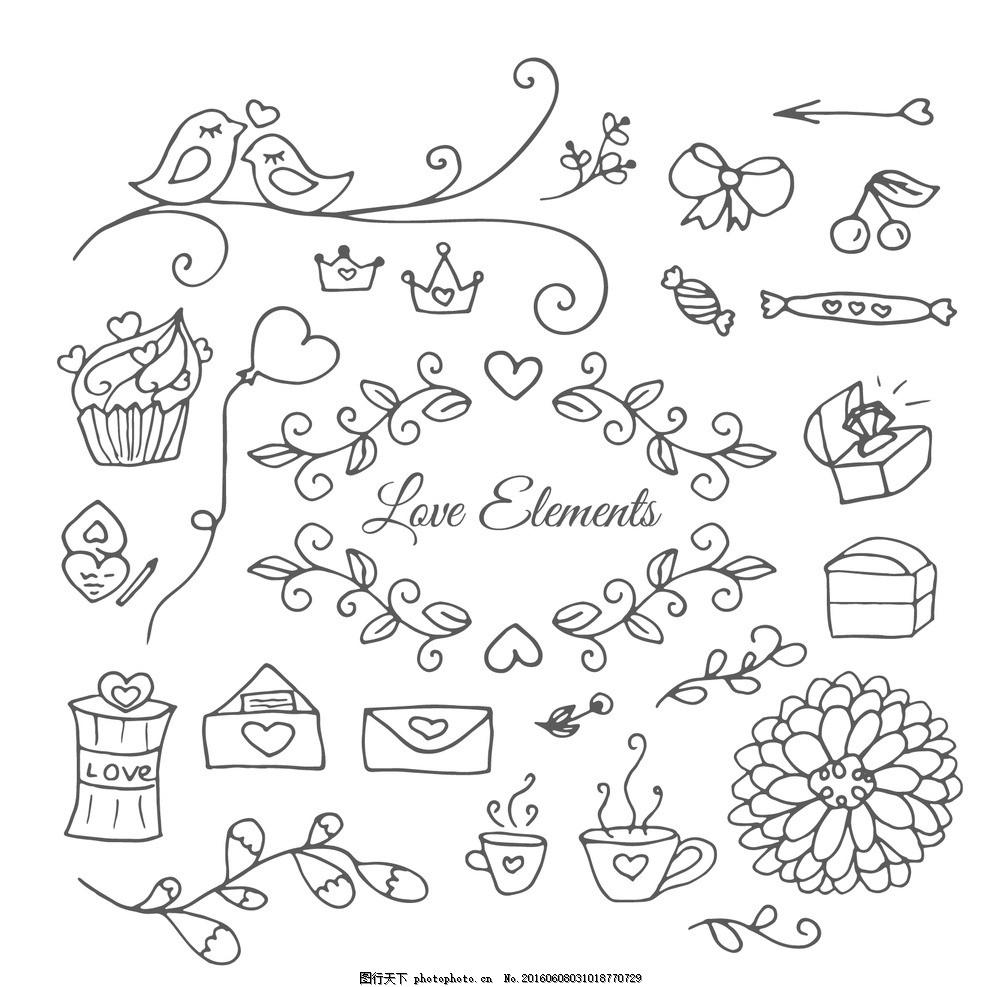手绘装饰 花卉 爱 花 手 饰品 蛋糕 钻石 纯手工绘制 树叶 鸟 信封