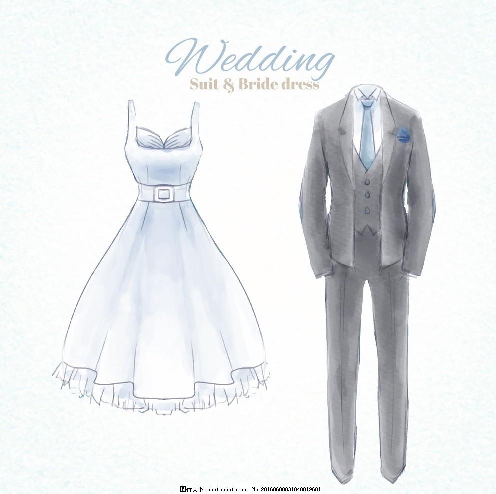 水彩手绘婚纱西装 礼服 婚礼 派对 邀请 爱情 庆祝 新娘 情侣