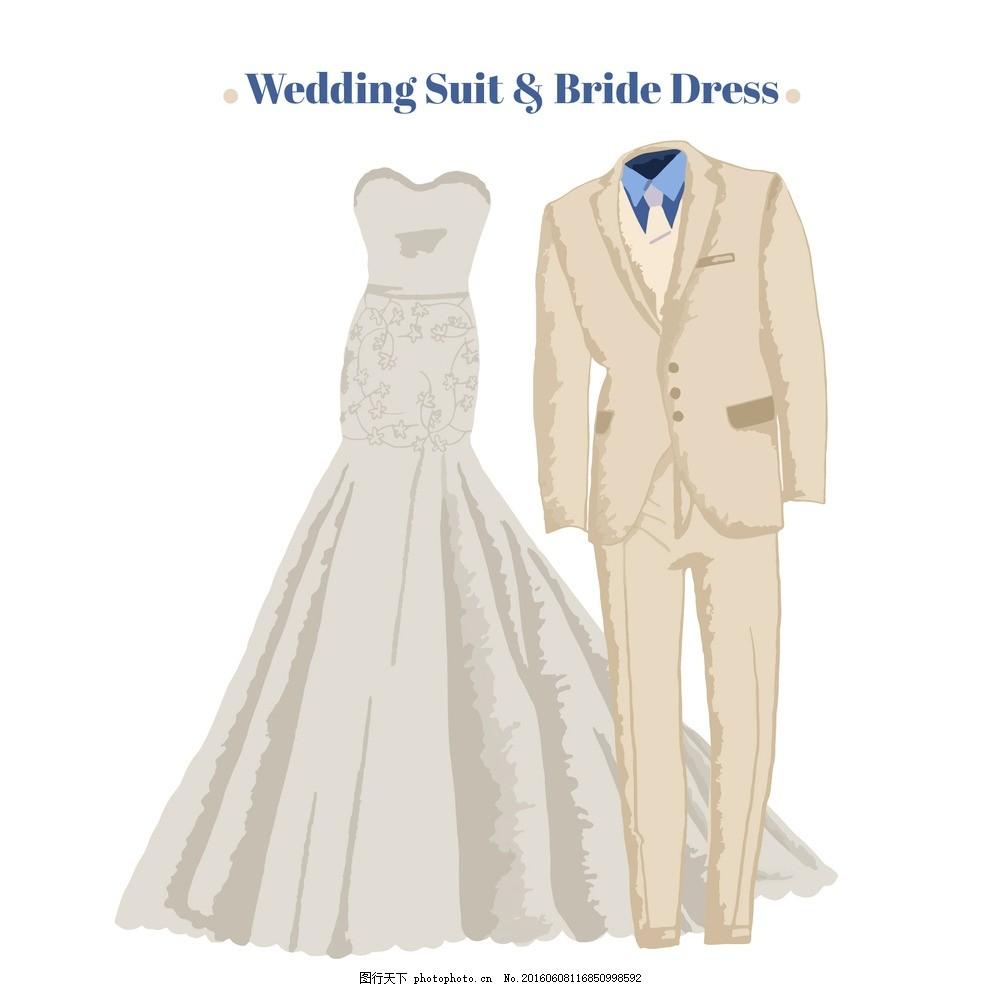 手绘婚纱西服 新娘礼服 婚礼 派对 邀请 爱 手 庆祝 新娘 夫妇 优雅
