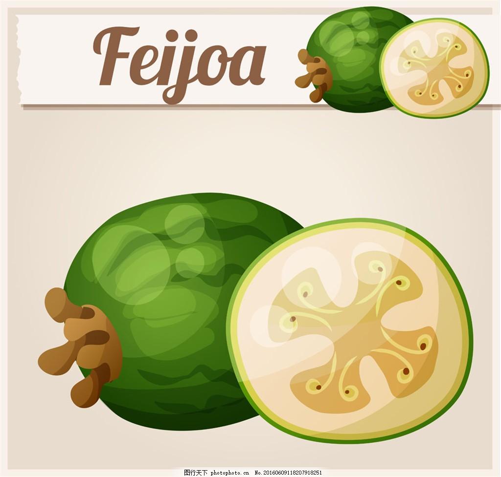 绿色椭圆形的水果图片