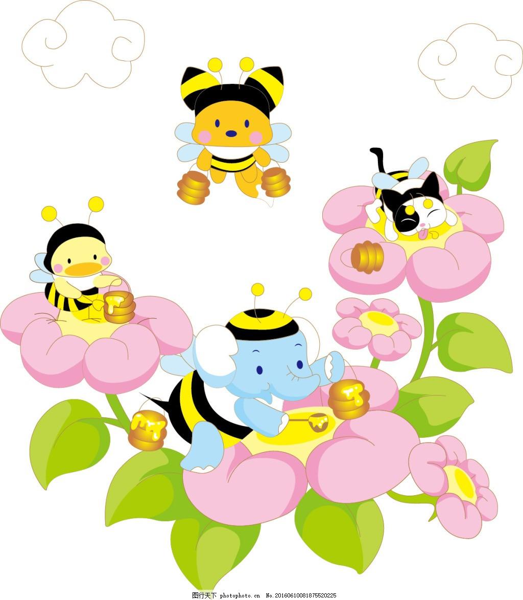 卡通动物 蜜蜂 小鸡 狐狸 大象 猫咪 蜂蜜 花丛 花朵 白色