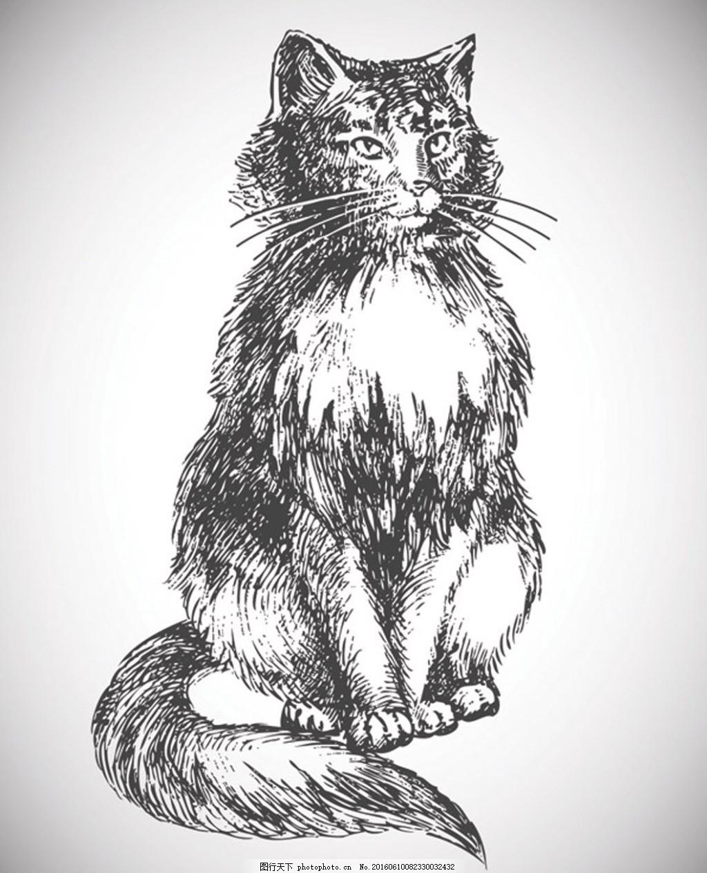 手绘动物素描矢量素材
