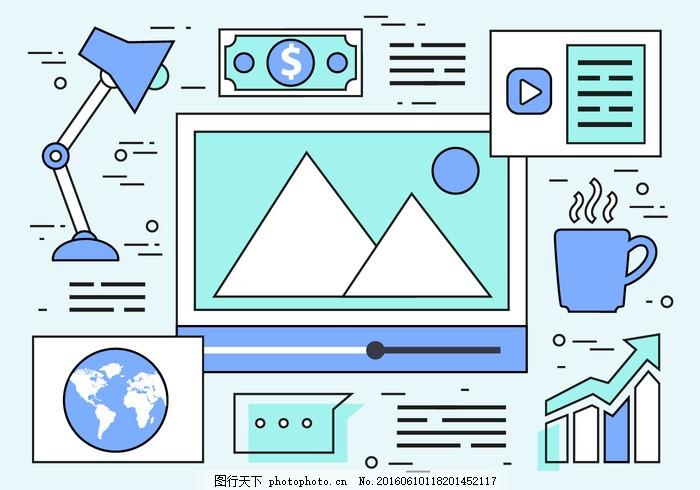 线性自由网页设计矢量背景