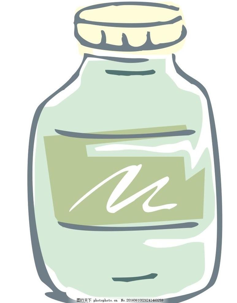 药瓶 点滴瓶 插画 简笔画 线条 线描 简画 黑白画 卡通 手绘